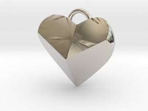 Geometric Heart Pendant in Rhodium Plated Brass