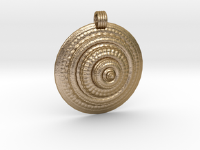 Fractal Round Pendant in Polished Gold Steel