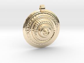 Fractal Round Pendant in 14K Yellow Gold