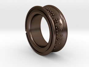 B (ring) in Polished Bronze Steel