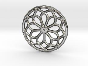 Mandala shape with dots in Polished Silver