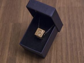 Question Cube [pendant] in 14k Gold Plated Brass