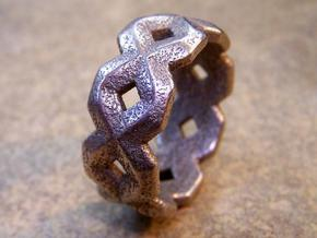 X Ring in Polished Bronzed Silver Steel