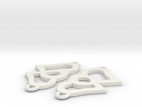 Hearts Pendant 2 pcs in White Natural Versatile Plastic