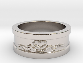 Heart Ribbon Valentine's Ring Size 8 in Rhodium Plated Brass