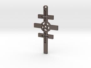 Houssaye Cross in Polished Bronzed Silver Steel