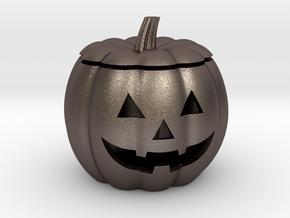 Halloween Pumpkin LED candle holder in Polished Bronzed Silver Steel