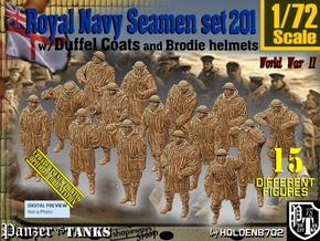 1/72 RN Seamen Duffel Coat Set201 in Smooth Fine Detail Plastic