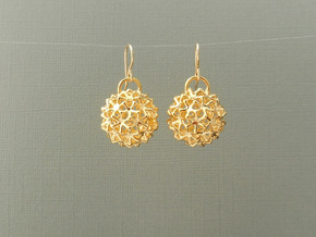 Snowballs - Earrings in Cast Metals in 18k Gold Plated Brass