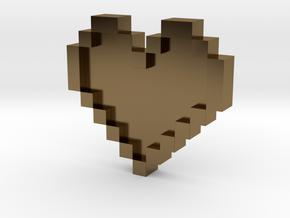 Pixel Heart in Polished Bronze: Medium