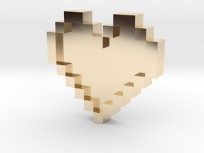 Pixel Heart in 14K Yellow Gold: Medium