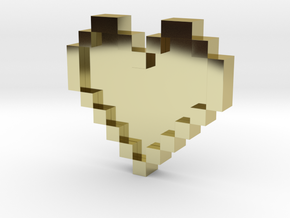 Pixel Heart in 18k Gold Plated Brass: Medium