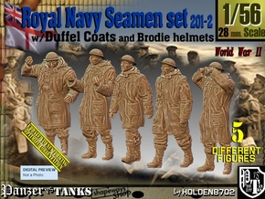 1/56 Royal Navy Duffel Coat Set201-2 in Smooth Fine Detail Plastic