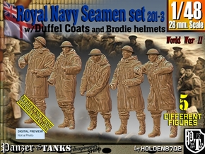 1/48 Royal Navy Duffel Coat Set201-3 in Smooth Fine Detail Plastic