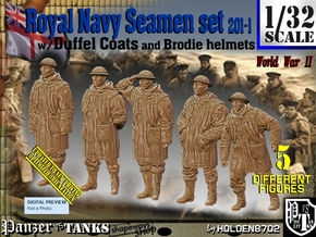 1/32 Royal Navy Duffel Coat Set201-1 in White Natural Versatile Plastic