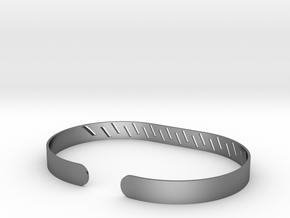 Angled Stripe Bracelet in Polished Silver