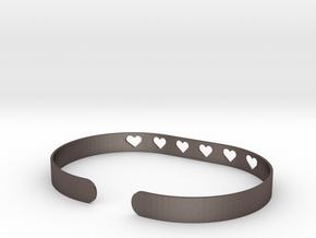 Heart Bracelet in Polished Bronzed Silver Steel