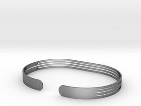 Extended Stripe Bracelet in Polished Silver