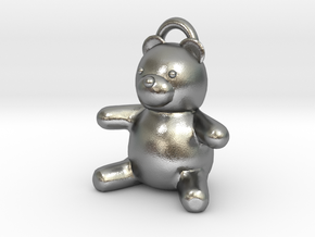 Tiny Teddy Bear w/loop in Natural Silver