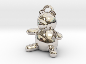 Tiny Teddy Bear w/loop in Rhodium Plated Brass