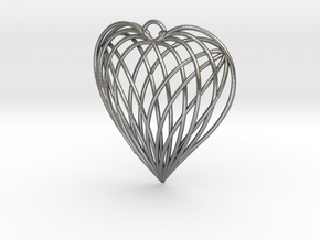 Woven Heart in Natural Silver