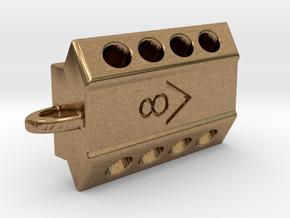 V8 engine keychain in Natural Brass