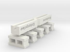 5 sprued 12mmx6mm cinderblocks in White Natural Versatile Plastic