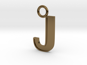 Letter J Key Ring Charm with decorative back holes in Polished Bronze