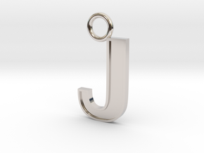 Letter J Key Ring Charm with decorative back holes in Rhodium Plated Brass