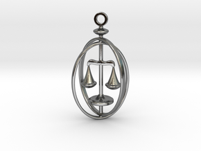 Libra Birthsign Pendant  in Polished Silver
