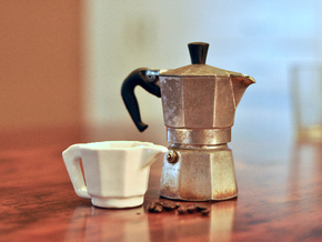 Moka Pot Espresso Cup in Gloss White Porcelain