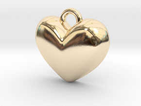 Batman Kisses Heart Pendant in 14k Gold Plated Brass: Extra Small