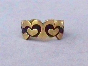 Open Layered Hearts in Ring Size 7 in Natural Brass