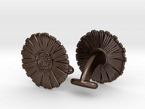 Daisy Cufflinks in Polished Bronze Steel
