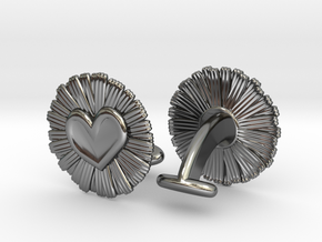 Daisy Heart Cufflinks in Fine Detail Polished Silver