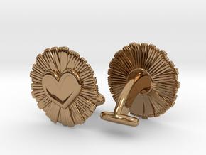 Daisy Heart Cufflinks in Polished Brass