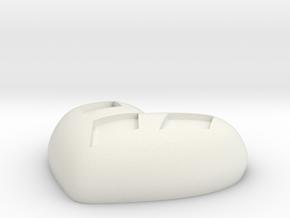 Diamond Kissed Heart Pendant in White Natural Versatile Plastic: Small