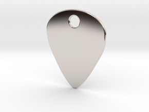 Metal Guitar Pick Pendant 1mm in Rhodium Plated Brass