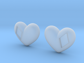 Diamond Kissed Heart Earrings (front pieces only) in Smooth Fine Detail Plastic: Extra Small