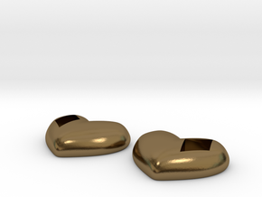 Diamond Kissed Heart Earrings (front pieces only) in Polished Bronze: Large