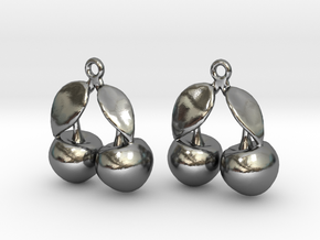 Cherry Earrings in Polished Silver