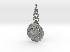Daisy Heart Keychain Charm in Natural Silver (Interlocking Parts)