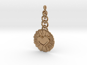 Daisy Heart Keychain Charm in Polished Brass (Interlocking Parts)
