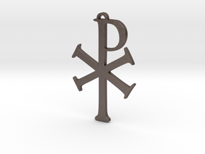 The Chi Rho in Polished Bronzed Silver Steel