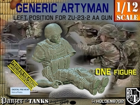 1/12 Left Artyman for ZU-23-2 AA Gun in White Natural Versatile Plastic
