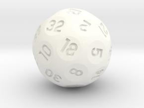 d32 Sphere Dice in White Processed Versatile Plastic