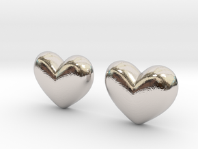 Batman Kisses Heart Earrings (front pieces only) in Rhodium Plated Brass: Extra Small