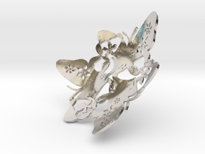 Butterfly Bowl 1 - d=10cm in Rhodium Plated Brass