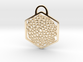 """O! My Honey(comb)"". Pendant in 14k Gold Plated Brass"
