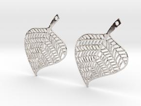 Hand Drawn Leaf Earrings in Rhodium Plated Brass